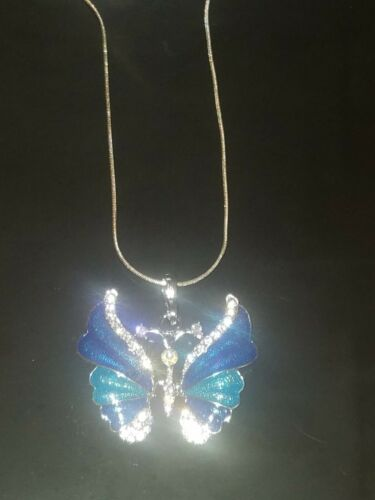 Butterfly Necklace Pendant Sterling Silver Chain Choose Your Color
