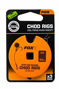 Fox-Edges-Chod-Rig-Barbless-Standard-Chodrig-Chod-Rigs-Karpfenhaken-Hooks