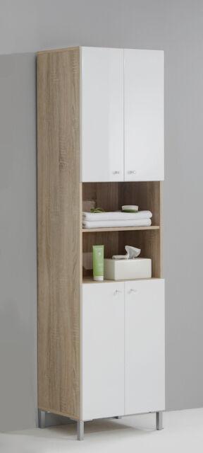 'Bilbao' Matching Bathroom Units / Suite. Gloss White & Washed Oak
