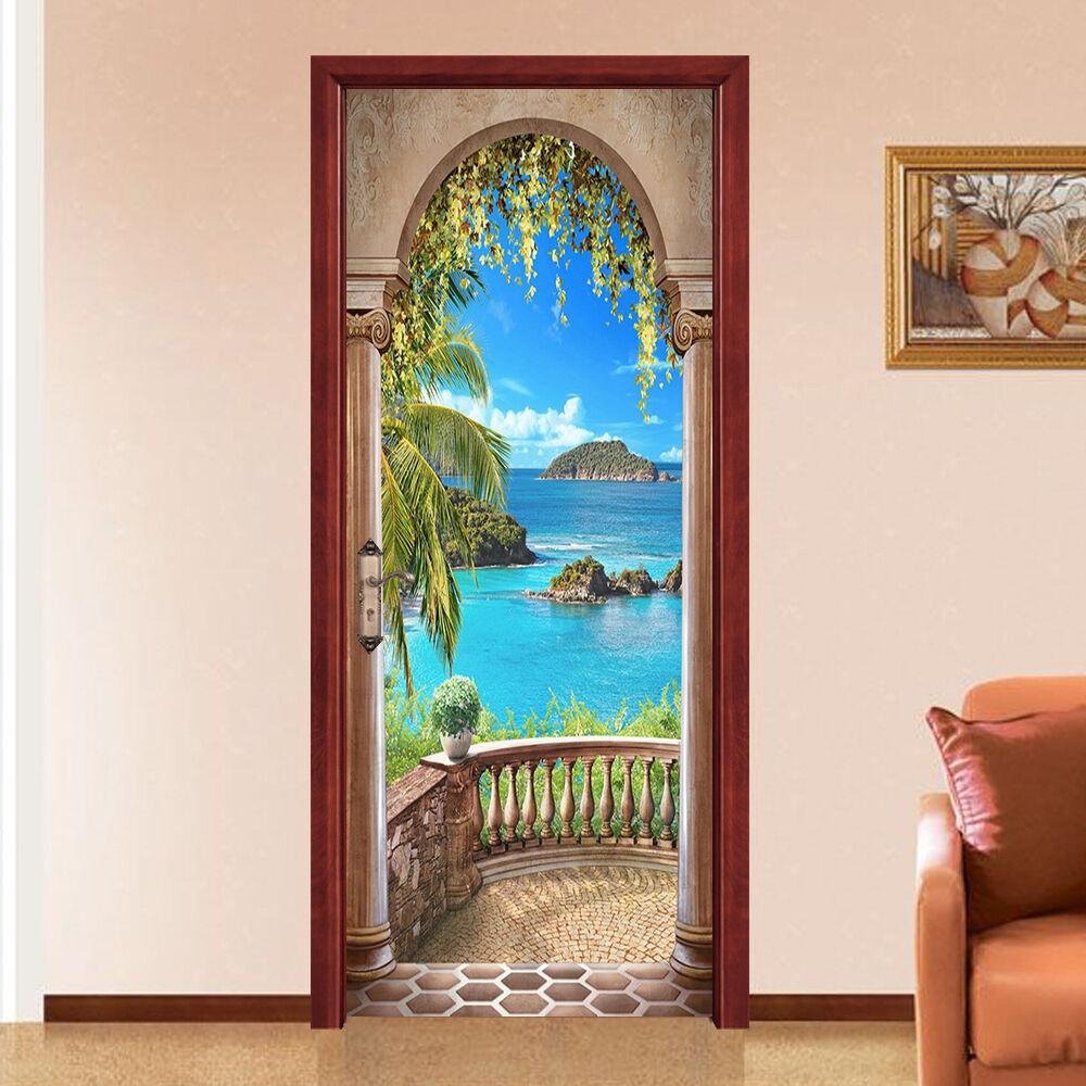 3D Der Balkon 729 Tür Wandmalerei Wandaufkleber Aufkleber AJ WALLPAPER DE Kyra