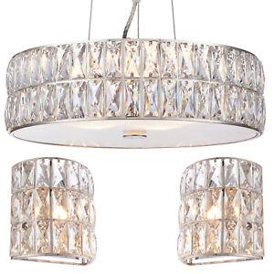 5 Bulb Ceiling Pendant 2x Matching Flush Wall Light Chrome Crystal Glass Ebay