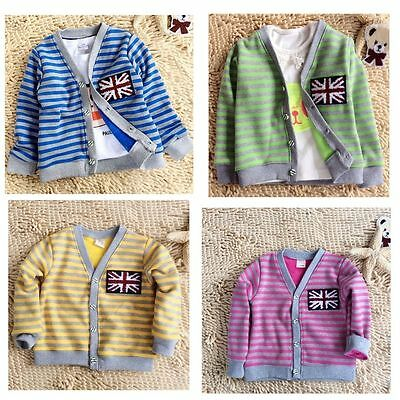 Baby Girls Boys Tripled Cardigans Kids Jumpers Sweater Top Sweatershirts 2-7Year