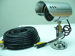 Wired Surveillance Bullet Camera + 60 Feet Cable + Power Supply Set.