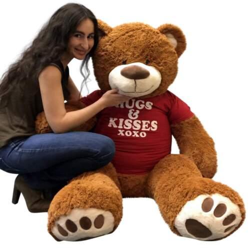 5 Foot Giant Teddy Bear 60 Inch Cinnamon Brown Color Wears HUGS /& KISSES T-shirt