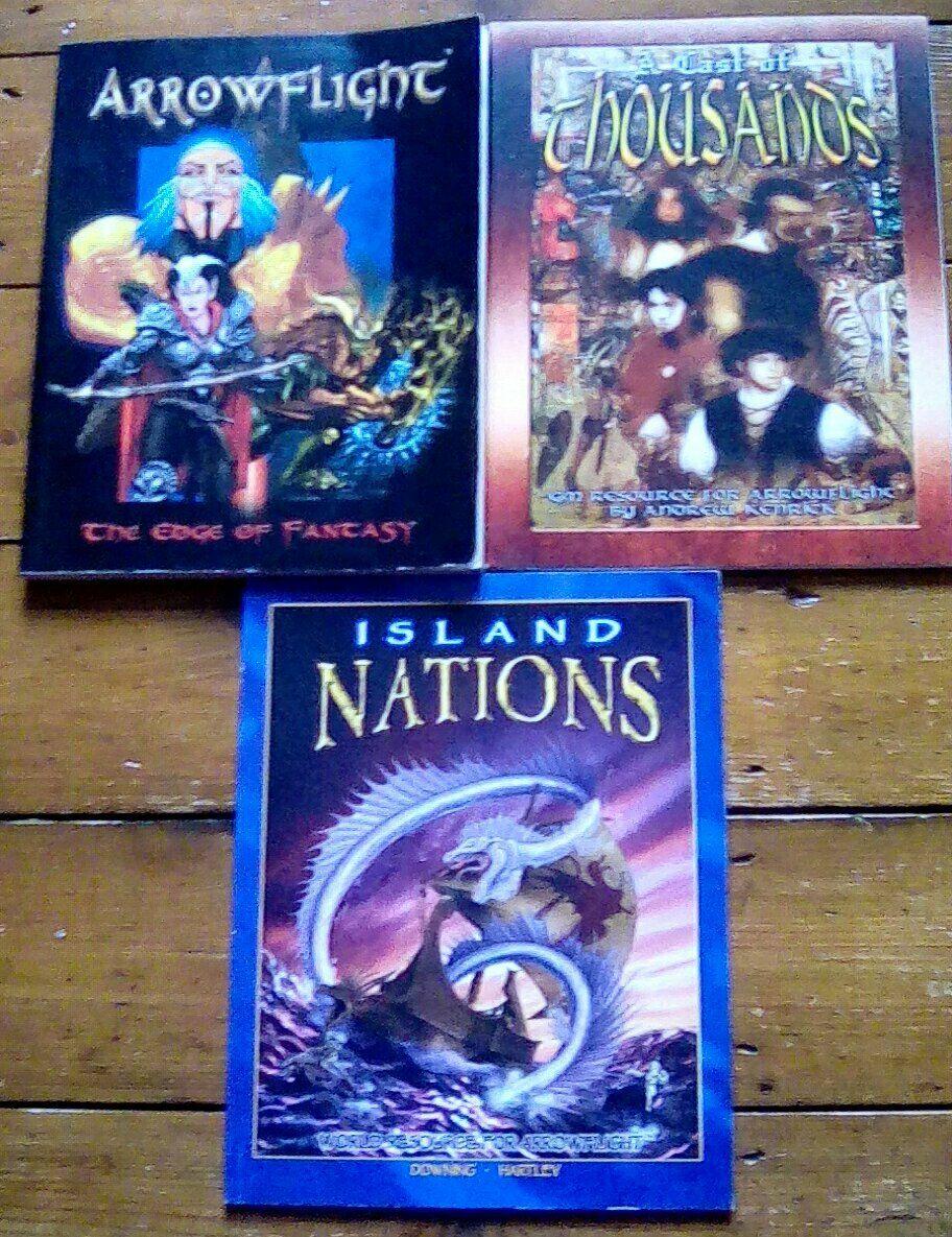 3 x Arrowflight Fantasy RPG Rulebook Cast of Thousands Island Nations Signed
