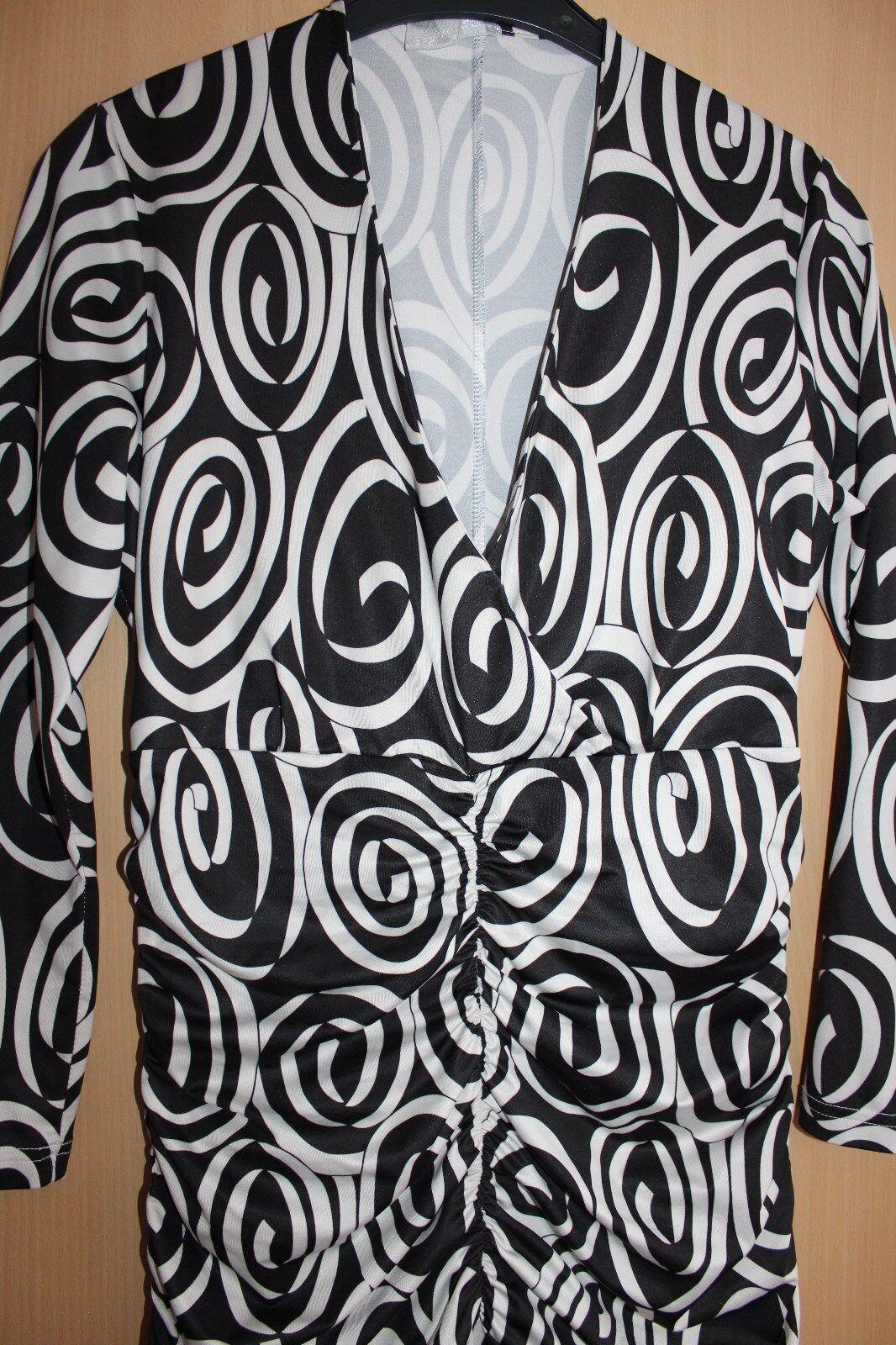 Kleid Gr.40 schwarz weiß Fashion in love love love by WDC mit Raffung V-Ausschnitt 3 4-Arm   Angenehmes Gefühl    Offizielle Webseite    Zahlreiche In Vielfalt  fe399e