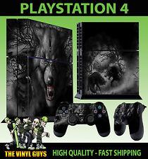 PS4 Skin Dark Wolf Horror Werewolf Skulls Sticker New + 2 Pad decal Vinyl STOOD