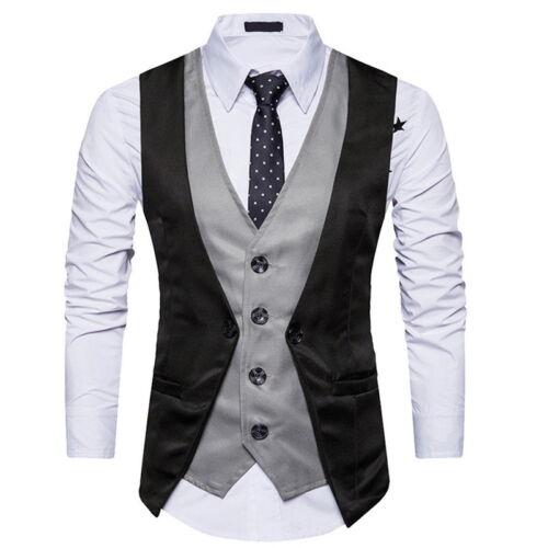 Fashion Mens/' Formal Business Suit Vest Slim Fit Wedding Casual Waistcoat Coats