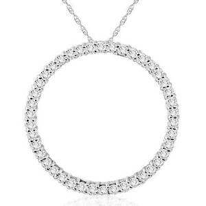 1-Ct-Real-Diamond-Circle-Of-Life-Eternity-Round-Pendant-14K-White-Gold