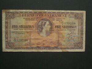 ** Rare Bermuda Qeii Cinq Shillings 1957 Billet **-afficher Le Titre D'origine Surface LustréE