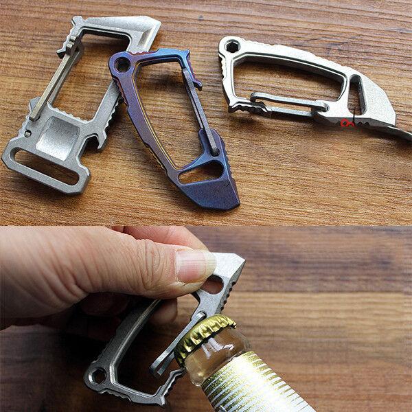 Titan Alloy Bottle Opener Schlüsselring Schlüsselkette Corkschreck Crowbar Spanner