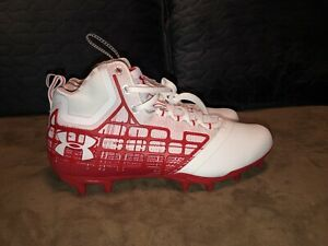 UNDER ARMOUR BANSHEE MID MC FOOTBALL CLEATS 1297351 White Red Size 13 /& 9