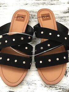244d2f4fa96 DV for Target by Dolce Vita Black Silver Stud Strappy Slides Sandals ...