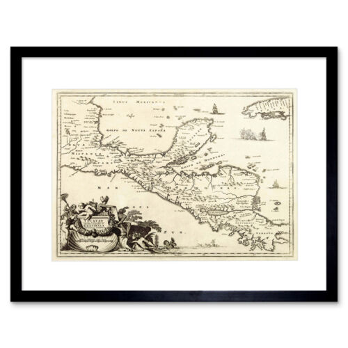 Map Antique Central America Montanus Yucatan Framed Print 12x16 Inch
