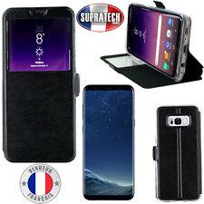 Etui Rabattable Simili Cuir Noir Ouverture Ecran pour Samsung Galaxy S8 Plus