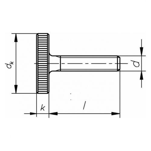 Stahl blank niedrige Form M 4 x 35 DIN 653 Rändelschraube