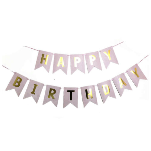 FLORAL ROSE GOLD HAPPY BIRTHDAY BUNTING BANNER DECORATIONS CONFETTI FOIL