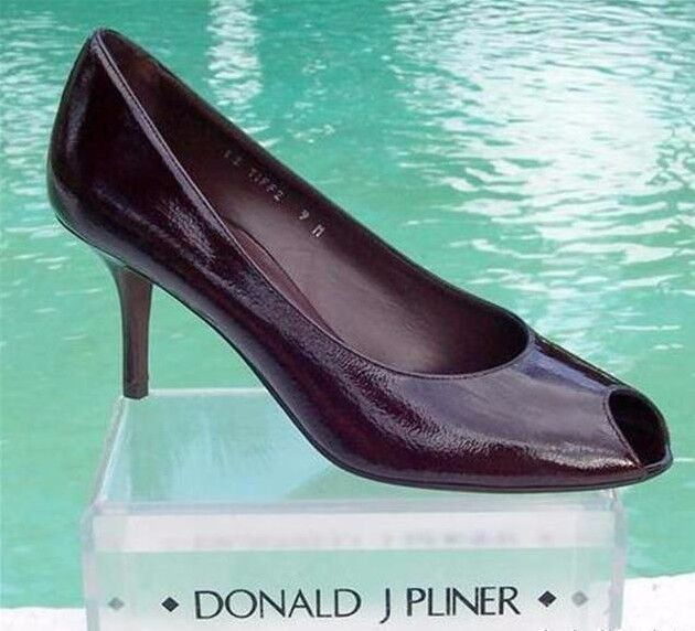 Donald Pliner Couture Walnut Patent scarpe New Peep Toe Flex Sole Signature  250