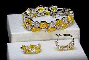 14k-Platinum-Bracelet-Earrings-Set-made-w-Swarovski-Crystal-Yellow-Citrine-Stone