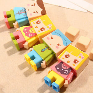 New Cartoon DIY Fresh Penknife Stationery With Eraser Assembly Pencil Sharpener