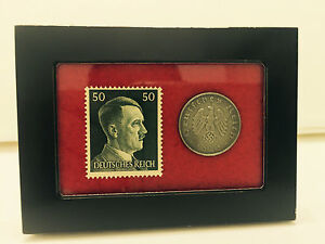 German WW2 Rare 10 Rp Coin with Stamp in a Secure Metal Disp Frame