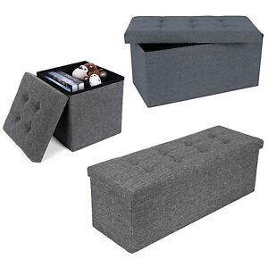 Merveilleux Image Is Loading Grey Linen Folding Storage Ottoman Padded Seat Stool