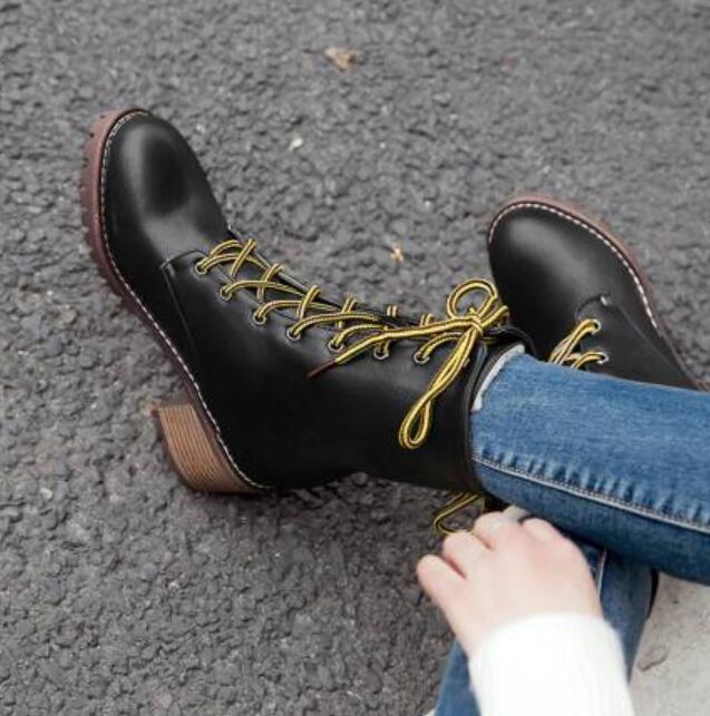 Bottes De Combat Vintage Lacets Vintage Oxford Bottes Mi-Mollet Talon Plat Chaussures