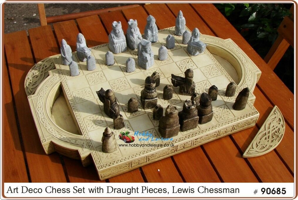 Lewis Chessman, Art Deco Chess Draught Set, Medieval Stone Effect Pieces   90685