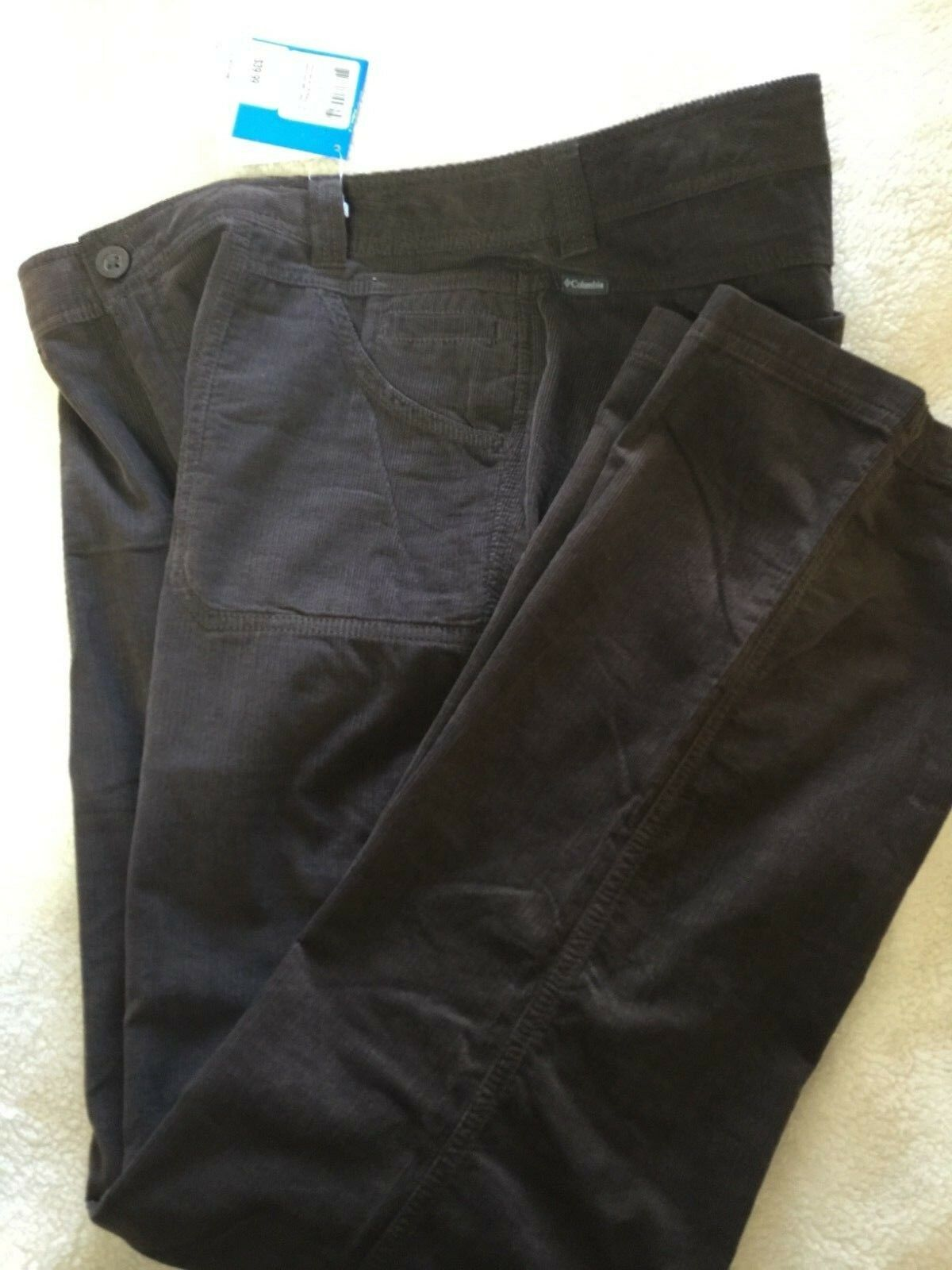 Columbia Women's Vapor Trail II Soft Fine Corduroy Pants 16 Reg Dark Brown NWT
