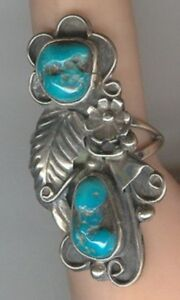 Free-form-Turquoise-Cabochons-and-Sterling-Silver-set-in-signed-size-7-1-4-Ring