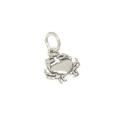 Crab 925 Sterling Silver Mini Charm w-Multiple Attachment Options Beach Food