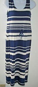 Boden Navy/White Stripe Nautical Knit Midi Dress Women 4 Petite Drawstring Waist