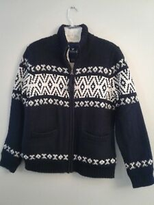 e20c85b42 NWT AMERICAN EAGLE Men's Faux Sherpa Zip-Up Sweater MEDIUM Black ...