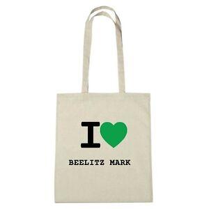 Umwelttasche - I love BEELITZ MARK - Jutebeutel Ökotasche - Farbe: natur