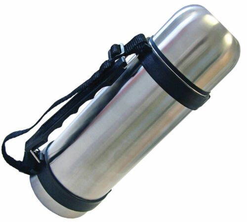 1LTR STAINLESS STEEL VACUUM FLASK WITH BUILT IN CARRY HANDLE 1L 1 LITRE FLASK