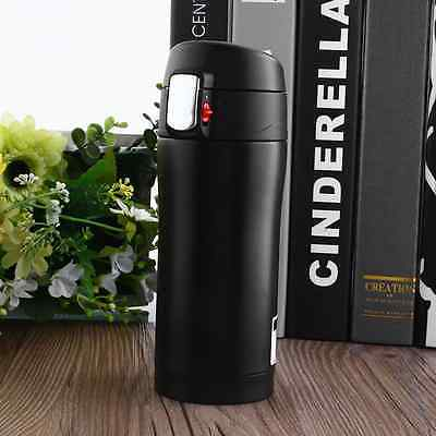 350ML Travel Mug Coffee Water Bottle Stainless Steel Thermos Cup Black