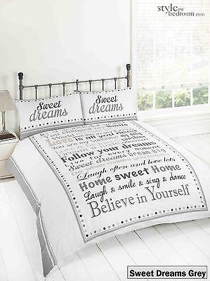 Sweet Dreams Modern Retro Chic Duvet Quilt Cover Bedding Set & Pillowcases