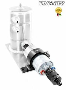 Bosch-044-Fuel-Pump-Swirl-Surge-Pot-Tank-Assembly-AN-6-Check-Valve-Output-Black