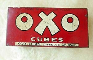 Large 100 cube vintage Oxo tin with great graphics inside lid