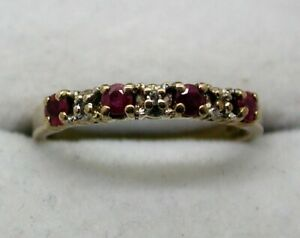 Lovely-9-carat-Gold-Ruby-And-Diamond-Half-Eternity-Style-Ring-Size-N