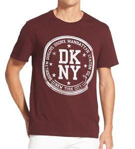 DKNY-Mens-T-Shirt-Red-Size-Large-L-Crewneck-Borough-Stamp-Logo-Tee-39-132