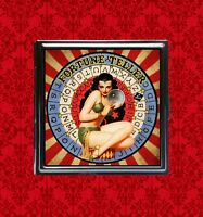 FORTUNE TELLER PIN UP GIRL GYPSY OUIJA VINTAGE SIDESHOW CIRCUS COMPACT MIRROR