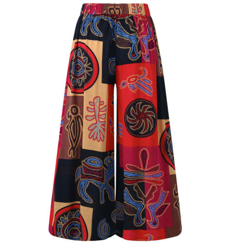 Boho Hippie Damen Weites Bein Hosen Baggy Yoga Gym Gypsy Palazzohose Sommerhose