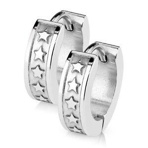 neueste trends von 2019 spottbillig unverwechselbares Design Details zu Creolen Klappcreolen Ohrringe Edelstahl Herren Damen Sterne  Ohrstecker Silber