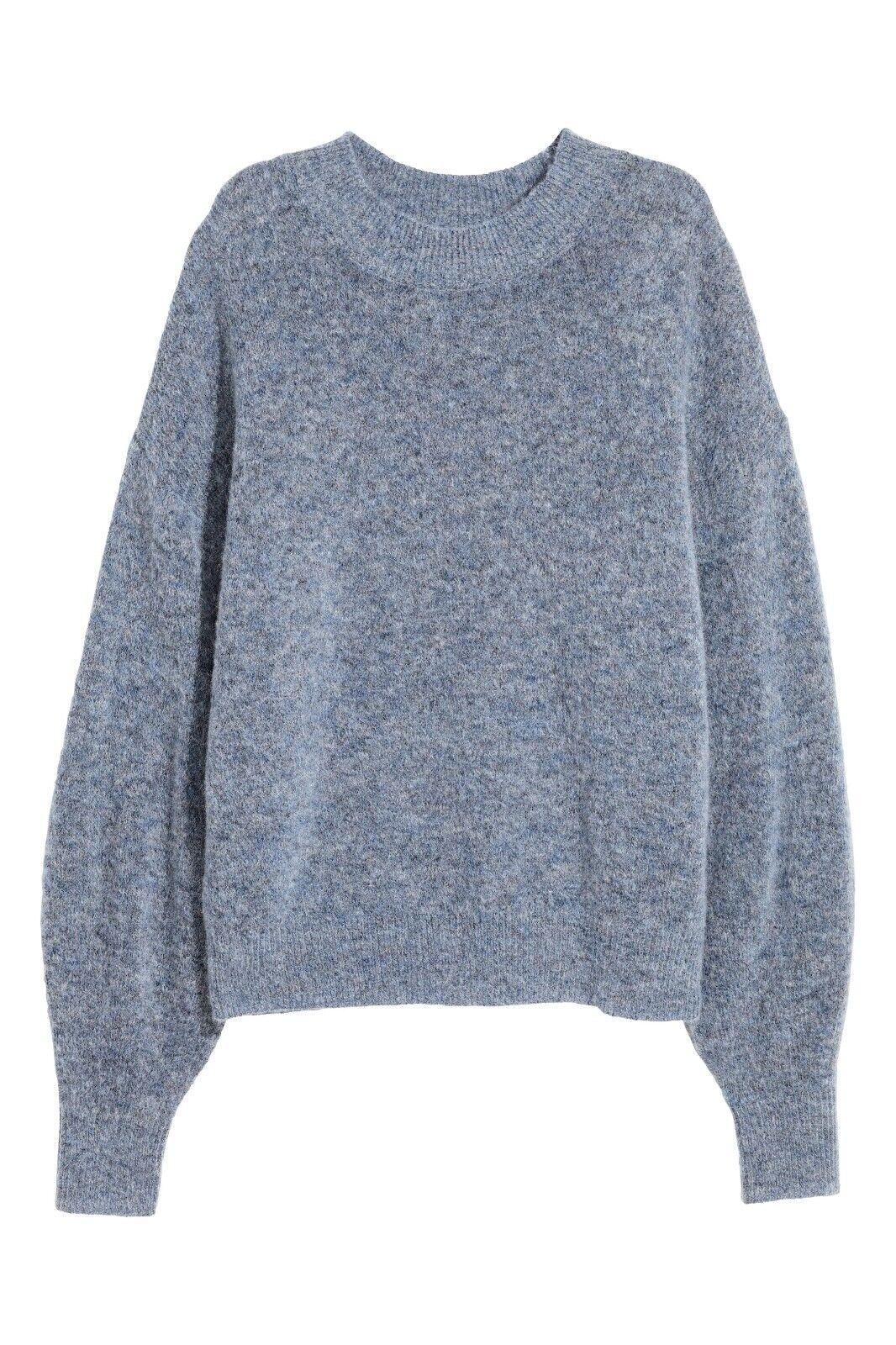 NWT - Soft Knit Mohair Blend H&M bluee Marl Sweater, Size XL