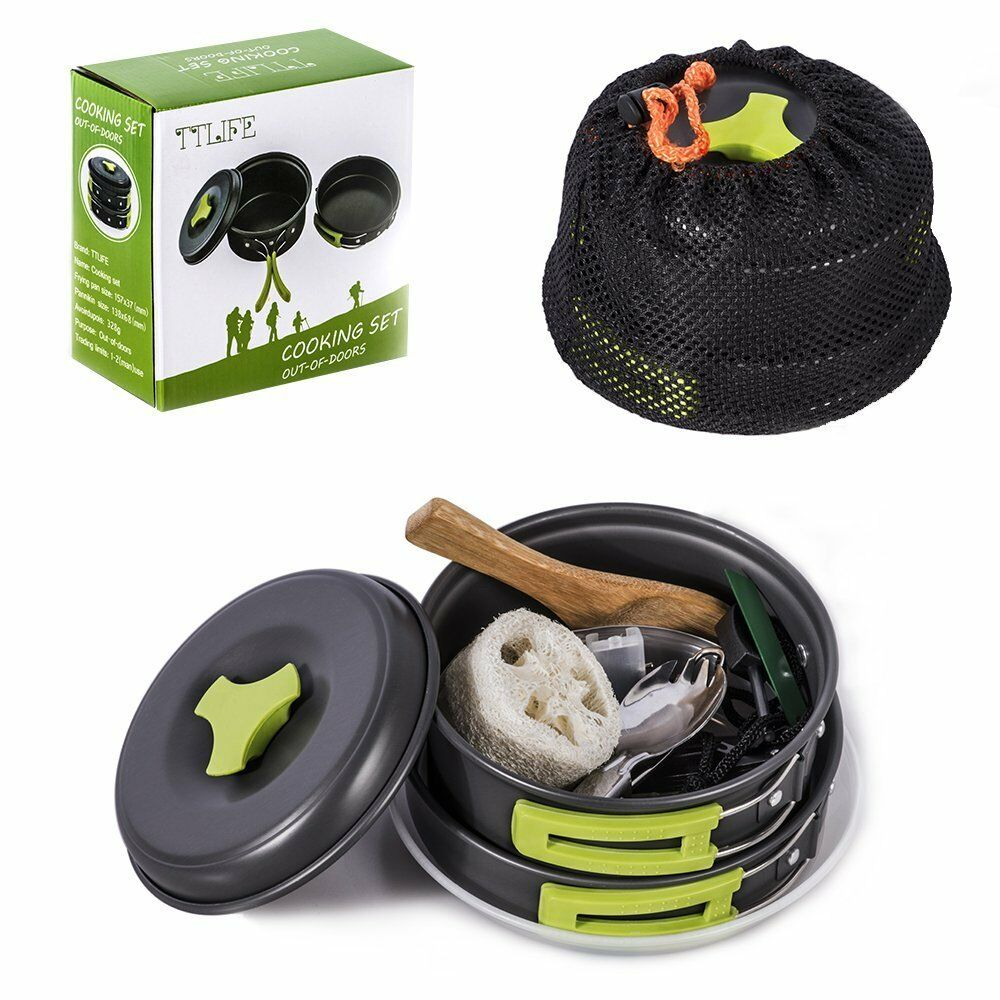 Pots Frying pan Camping Camping Hiking Game with 12 Pieces Quality Non-toxic