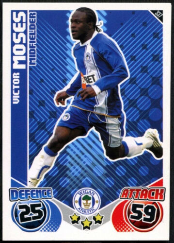Victor Wigan Athletic Topps Match Moisés #337 Attax Tarjeta de fútbol 2010-11 C602