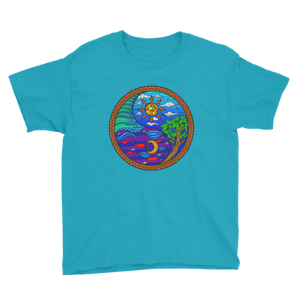 Details about  /Youth Colorful Yin Yang Sun Moon Air Water Short Sleeve T-Shirt