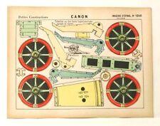 Pellerin Imagerie D'Epinal- 1240 Canon Petites vintage paper model construction