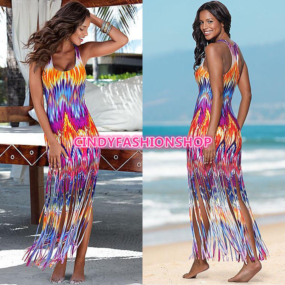 8619844023 2017 Hot USA Hot Women Summer Casual Beach Sleeveless Tank Top Tassels Long  Maxi Dress